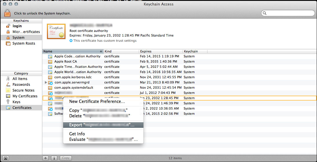 Export the Certificate from Keychain Access