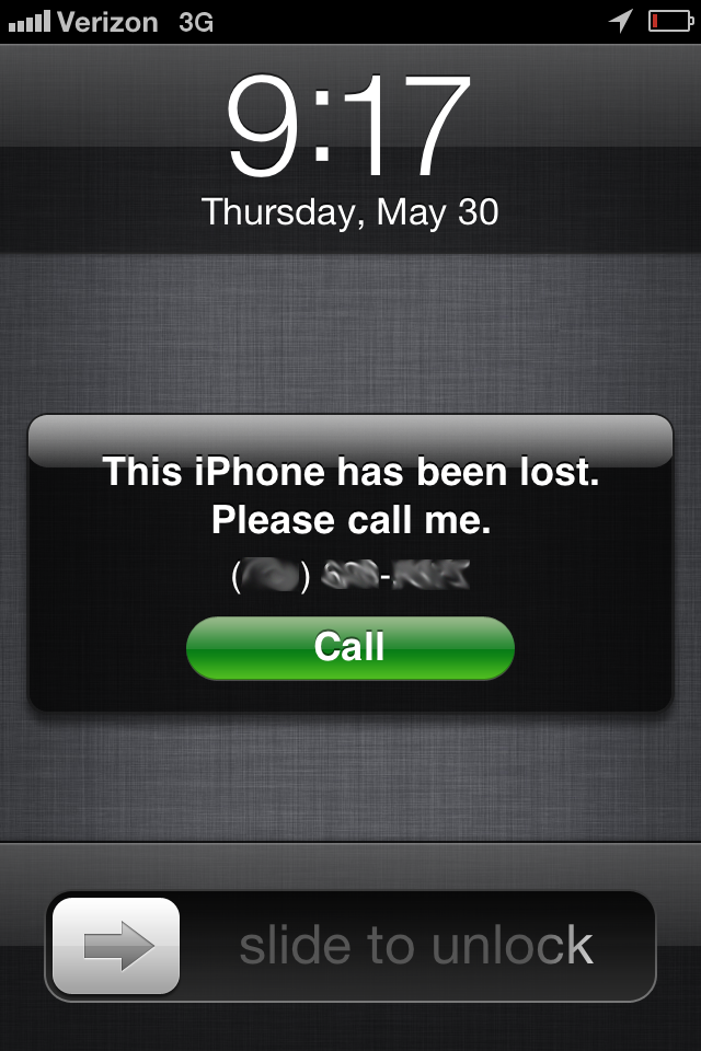 Locking a lost iPhone
