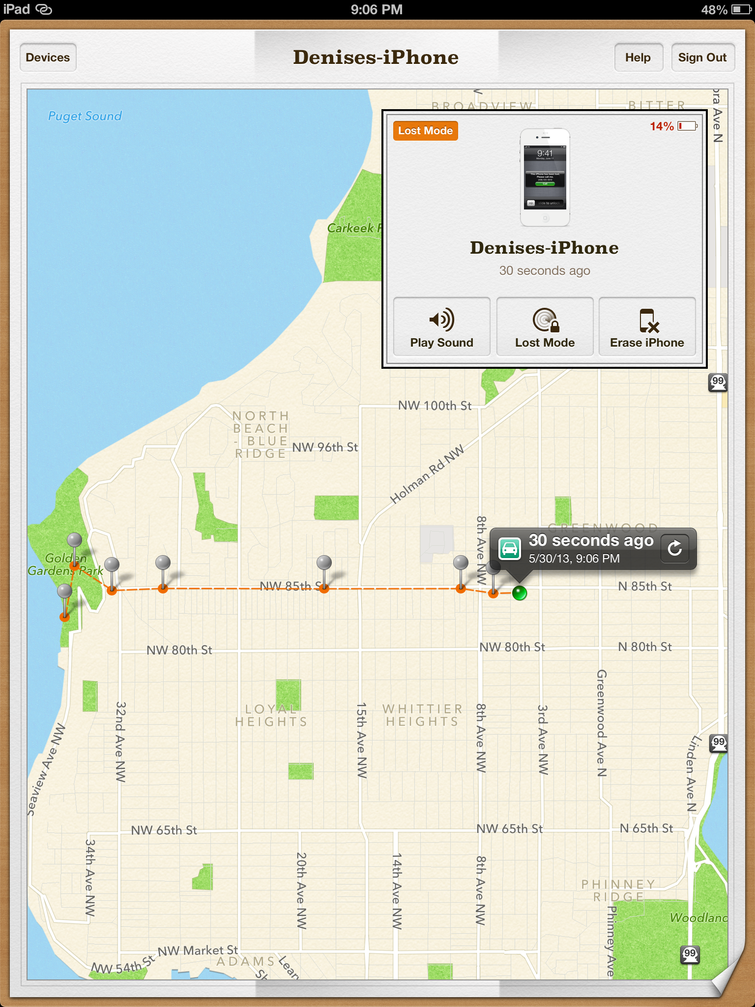 Tracking a lost iPhone